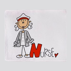 Female Stick Figure Nurse Throw Blanket